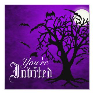 Chilling Go Batty Purple Moon Halloween Invitation