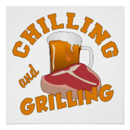 Chilling & Grilling custom color poster