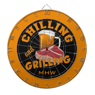 Chilling & Grilling custom monogram dart board