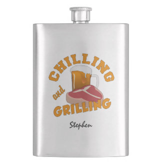 Chilling & Grilling custom name flask