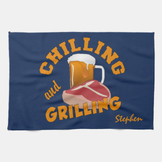 Chilling & Grilling custom name hand towel
