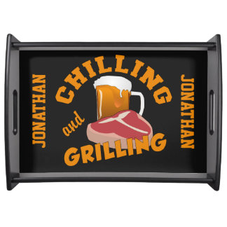 Chilling & Grilling custom name serving tray