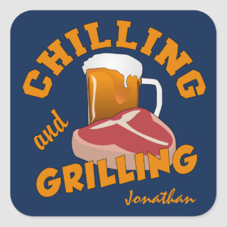 Chilling & Grilling custom name stickers