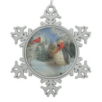 Chilling With Friends Snowflake Pewter Christmas Ornament