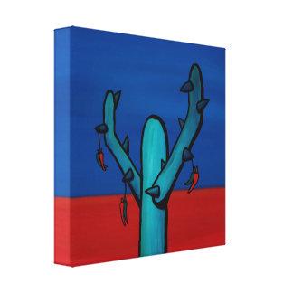 Chillis secado en un cactus impresiones en lona estiradas