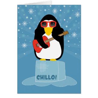 Chillo!  Cool Yule Rocker Penguin Playing Guitar Card