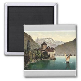 Chillon Castle, and Dent du Midi, Geneva Lake, Swi 2 Inch Square Magnet