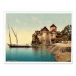 Chillon Castle, Geneva Lake, Switzerland vintage P Postcard