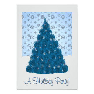 Chilly Blue Christmas Scene Invitation