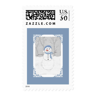 Chilly Blue Snowman in a Scarf and Hat Postage