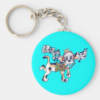 Chilly Dog the dancing Beagle holding the key Basic Round Button Keychain