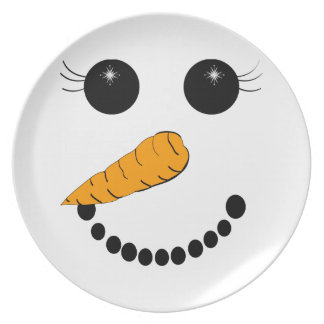 Chilly Face Snowman Plate