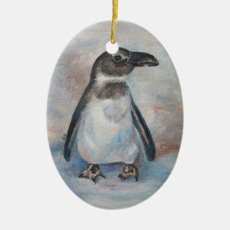 Chilly Little Penguin Ceramic Ornament