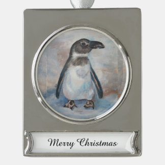 Chilly Little Penguin Silver Plated Banner Ornament