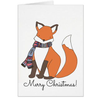 Chilly Winter Fox Customisable Christmas Card