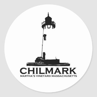 "Chilmark ""Lighthouse"" Design. Classic Round Sticker"
