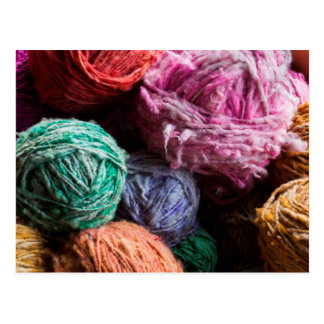 Chiloe wool yarn dyed with natural dyes postcard