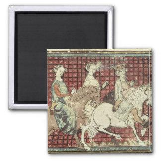 Chilperic I  and Fredegonde on Horseback 2 Inch Square Magnet