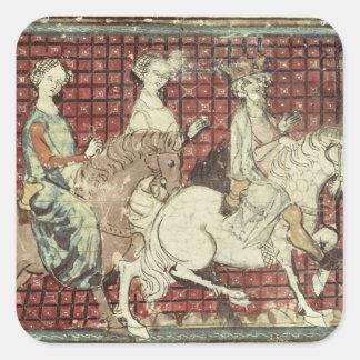 Chilperic I y Fredegonde a caballo Pegatinas Cuadradas Personalizadas