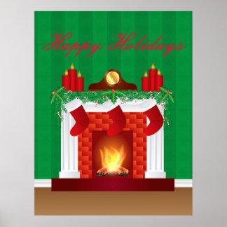 Chimenea con el poster de la decoración del navida