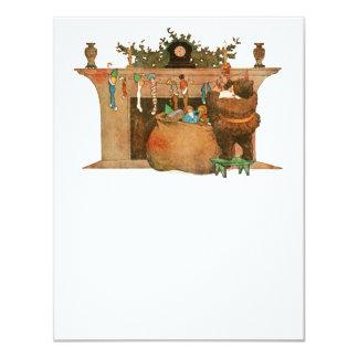 Chimenea de Papá Noel de la Nochebuena Invitación 10,8 X 13,9 Cm