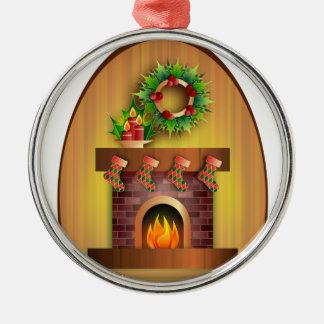 Chimenea del navidad adorno navideño redondo de metal