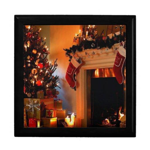 chimenea del navidad cajas de recuerdo