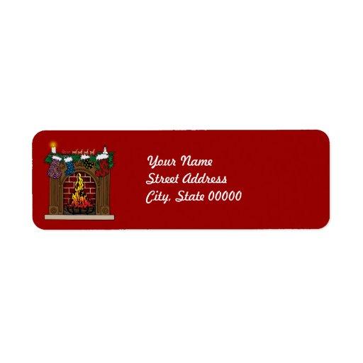 Chimenea en etiqueta de dirección de la Nochebuena