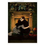 Chimenea romántica de los pares del amor y del rom tarjeton