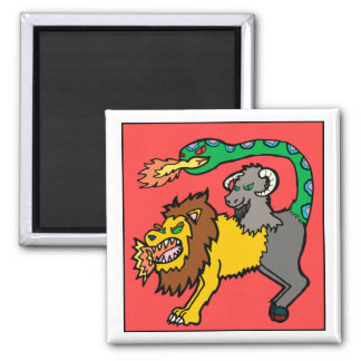 Chimera - Book of Monsters 2 Inch Square Magnet