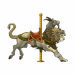 "Chimera Carousel Cutout Pin/Ornament/Magnet<br><div class=""desc"">A chimera from Greek mythology drawn as a carousel mount with Greek patterns on his saddle. These lovely gift items featuring the art of Jill Johansen are perfect for lovers of fantasy artwork!</div>"