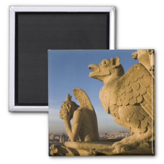 Chimera on facade of Notre Dame Cathedral, 2 Inch Square Magnet