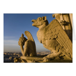 Chimera on facade of Notre Dame Cathedral, Card