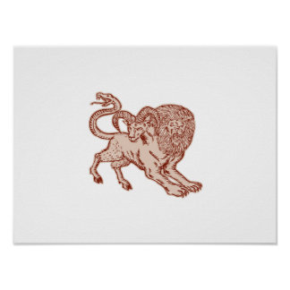 Chimera Pouncing Etching Poster