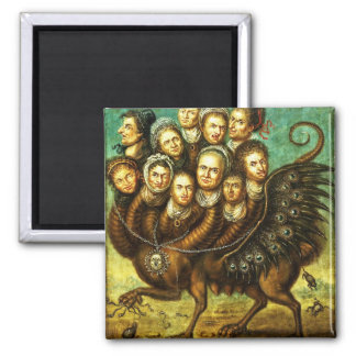 Chimera Winged Creature Early 18th Century Monster 2 Inch Square Magnet