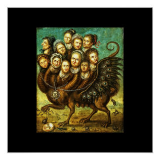 Chimera Winged Creature Early 18th Century Monster Poster