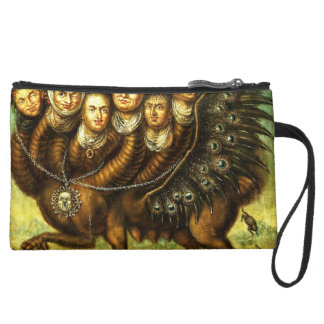 Chimera Winged Creature Early 18th Century Monster Suede Wristlet Wallet