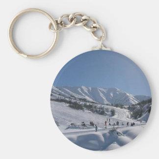 Chimgan Ski Slope Basic Round Button Keychain