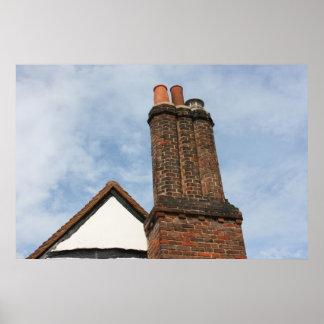 Chimney on Tudor house, Amersham UK Poster
