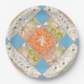 Chimney Quilt Block Pattern Paper Plate 9 Inch Paper Plate