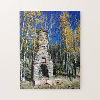Chimney Ruin Amongst Fall Aspens Jigsaw Puzzle