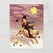 Chimney Sweep, Pig, Clovers, Gold Coins, Holiday Postcard