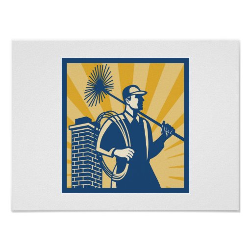 Chimney Sweeper Cleaner Worker Retro Poster