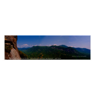 """chimneyrock pano left, """"The trail is the thing,... Poster"""