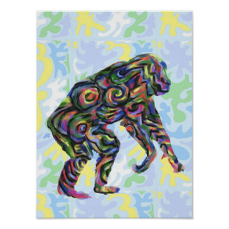 Chimp Abstract Art Poster