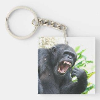 Chimp Baring Teeth Square Acrylic Keychains