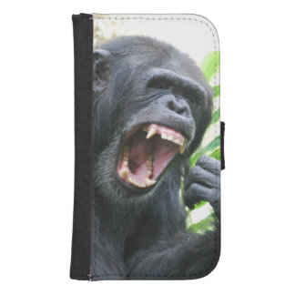 Chimp Baring Teeth Galaxy S4 Wallet Case