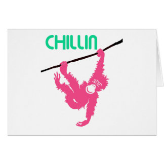 Chimp Hanging from a Branch Chillin Card