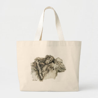 Chimp hitching a ride large tote bag