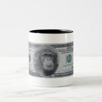Chimp Money Money Two-Tone Coffee Mug
